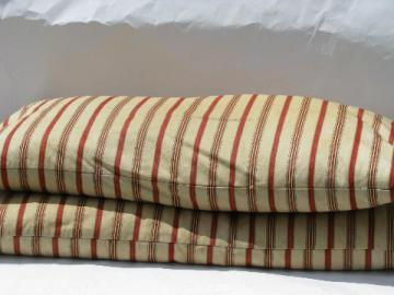lot primitive old feather pillows, vintage wide red stripe ticking