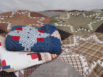 lot primitive old patchwork quilts, vintage cotton print fabrics, 1940s-50s