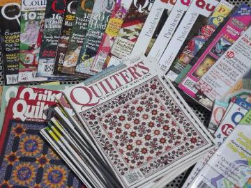lot quilt pattern & quilting magazines, 50+ back issues QuiltMania etc.