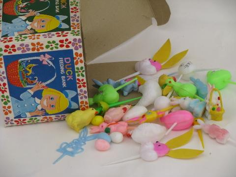 lot retro cupcake toppers / plastic picks, vintage Easter Unlimited box