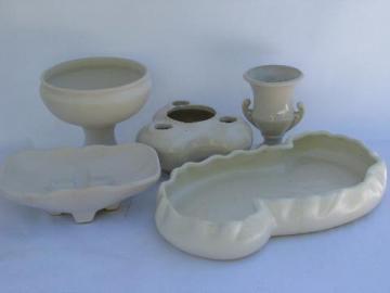 lot retro matte white pottery planters & vases, vintage McCoy Floraline