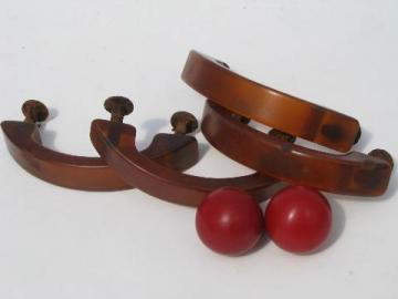 lot retro vintage bakelite drawer pulls & knobs, carmel & cherry red