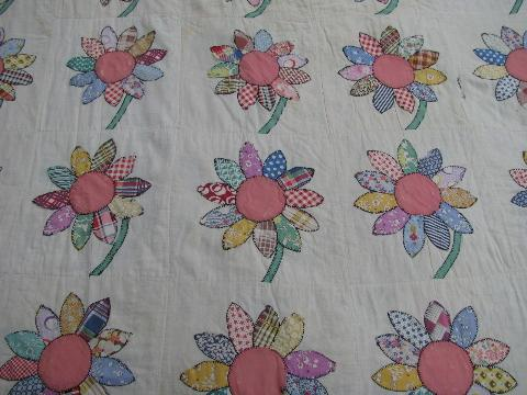 Lot shabby old antique vintage quilts patchwork embroidery applique