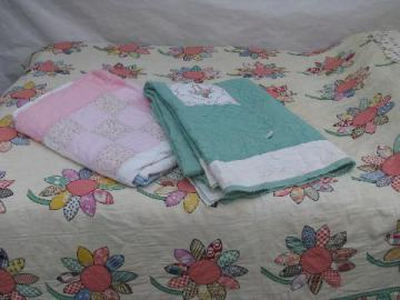 lot shabby old antique vintage quilts, patchwork, embroidery, applique