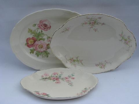 Old China Patterns lot shabby old china platters / oval trays, vintage floral patterns