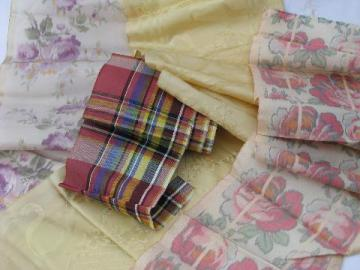 lot shabby old silk & taffeta ribbons, wide damask, floral prints