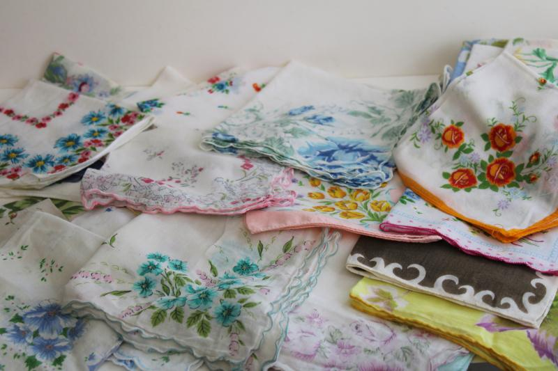 lot shabby vintage hankies w/ flower prints, upcycle project craft decor printed cotton handkerchiefs