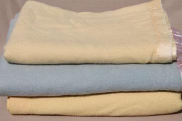 lot shabby vintage wool blankets, blue & yellow felting cutting fabric for rugs or crafting