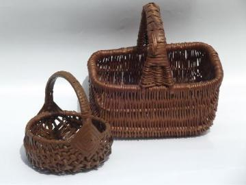 lot small child / doll size vintage wicker picnic or flower baskets