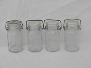 lot small glass mason jars w/lightning lids, kitchen canisters or spices