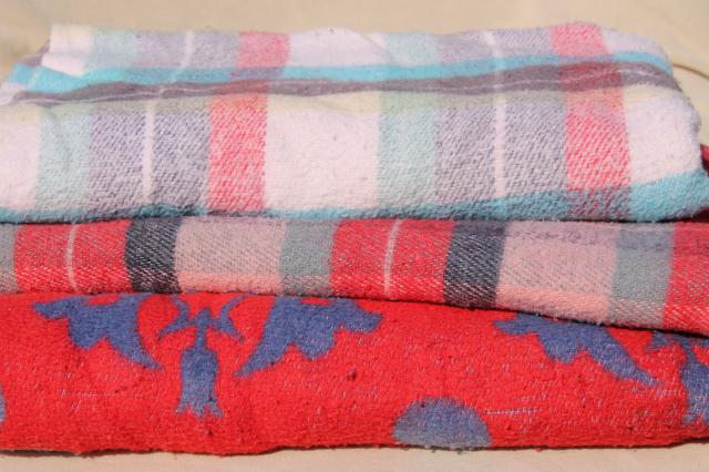 lot soft worn vintage camp blankets, camping bunk blankets - indian blanket & plaid