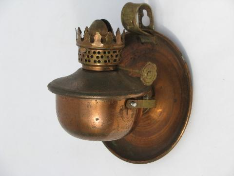 tiny oil lamps, ship's lantern pivot wall sconces, copper plate metal