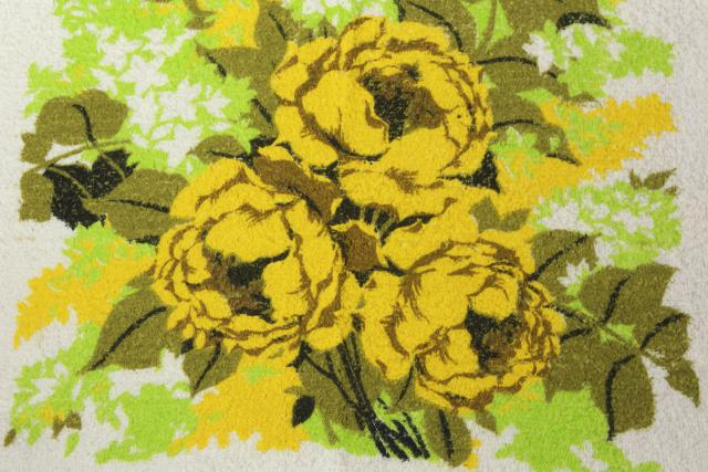 lot unused vintage bath towels, retro 60s roses floral yellow, pink, blue