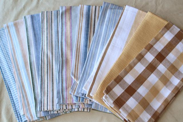 lot unused vintage cotton dishtowels, kitchen dish cloths, tea towel drying towels lot