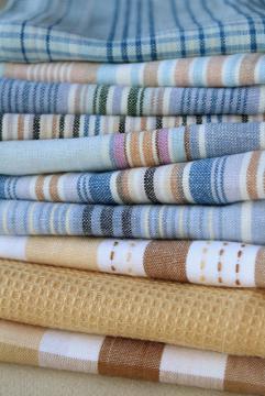 lot unused vintage cotton dishtowels, kitchen dish cloths, tea towel drying towels lot