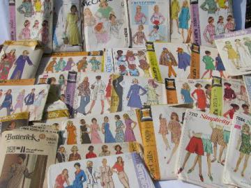 lot vintage 60s - 70s sewing patterns, retro hippie, boho gypsy, mod