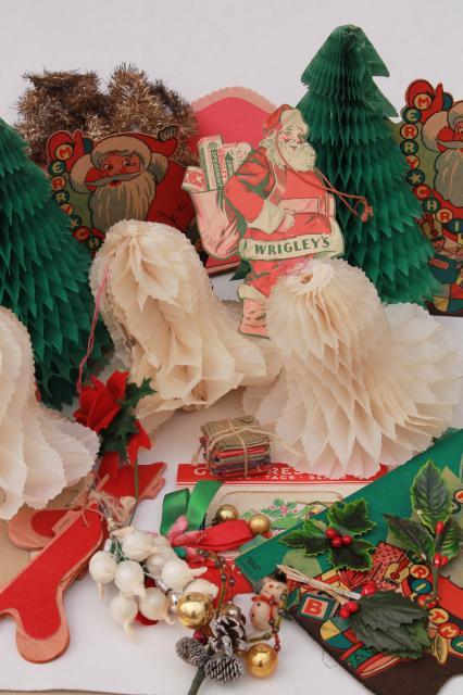 Lot vintage christmas decorations santas holiday diecuts
