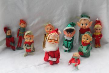 lot vintage Christmas ornaments decorations knee hugger Santa & elf pixies Japan