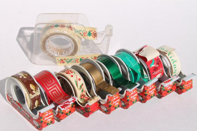 Lot Vintage Christmas Print Gift Wrap Tapes In Mid Century Scotch Plaid Tape Dispensers