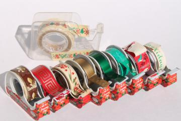 lot vintage Christmas print gift wrap tapes in mid-century Scotch plaid tape dispensers