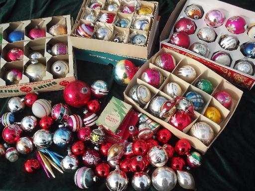 lot vintage christmas tree ornaments old mercury glass balls in boxes