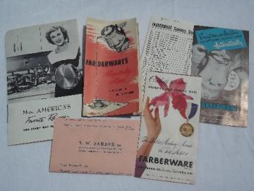 lot vintage Farberware advertising, cookbook, etc. for cookware, coffee pot