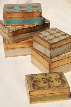 lot vintage Florentine gold wood boxes, ornate gilt trinket box collection