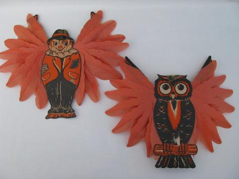 Lot Vintage Halloween Paper Decorations Scarecrow And Owl