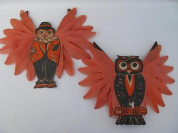 lot vintage Halloween paper decorations, scarecrow and owl