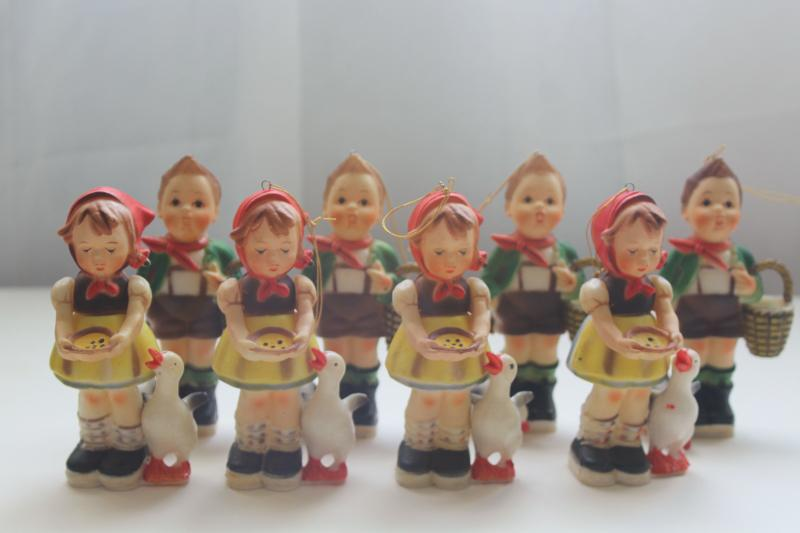 lot vintage Hong Kong plastic figurines, Hummels children, goose girl & boy