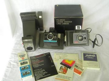 lot vintage Polaroid land cameras, Big Shot portrait, Square Shooter etc.