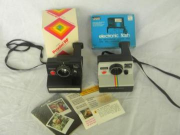 lot vintage Polaroid land cameras, Pronto! RF, rainbow One Step and flash