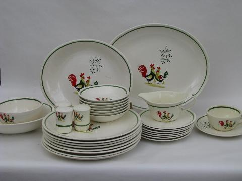 & lot vintage Steubenville Horizon rooster pattern pottery dinnerware