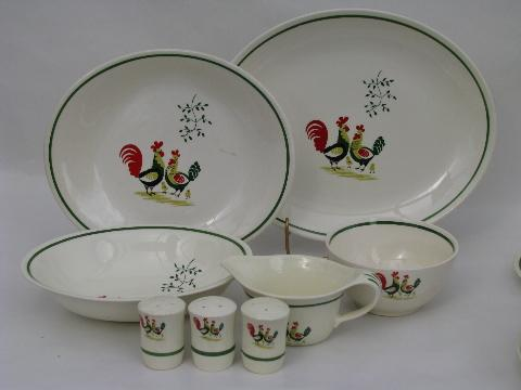 pattern Vintage dishes rooster