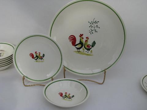 & lot vintage Steubenville Horizon rooster pattern pottery dinnerware