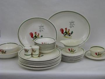 lot vintage Steubenville Horizon rooster pattern pottery dinnerware