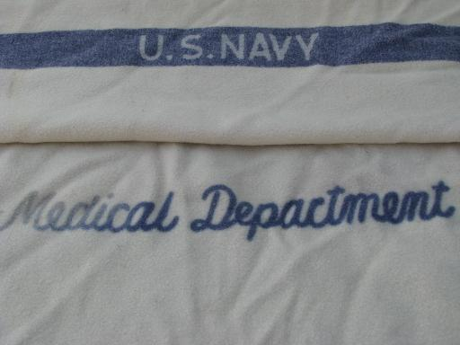 lot vintage WWII military medical department Army Navy wool blankets