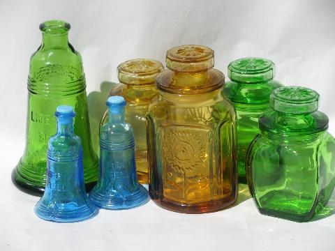Lot Vintage Wheaton Glass Bottles Spice Jars Liberty