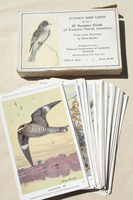 lot vintage advertising trade cards w/birds, color print bird field guide books