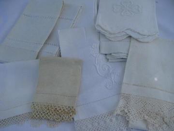 lot vintage antique whitework linen damask & cotton towels, crochet & tatted lace