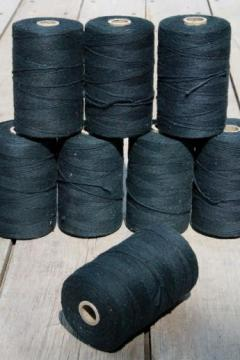 lot vintage black cotton string rug thread, carpet warp weaving cord yarn