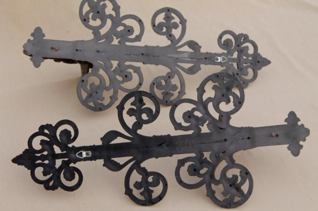 lot vintage black & gold rococo plastic wall art, candle sconces, ivy pockets, giant key!