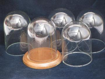 lot vintage blown glass domes, dome covers for clocks, antique display