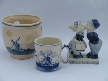 lot vintage blue & white Delft pottery, windmill scene bulb planter, dutch children