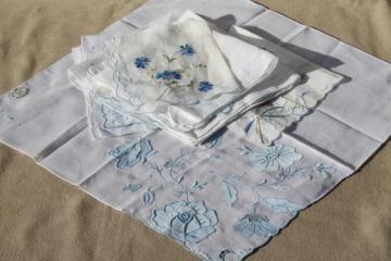 lot vintage blue & white wedding / bride's hankies, Swiss embroidery & Madeira handkerchiefs