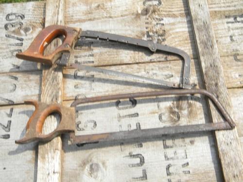 Lot Vintage Bow Type Hack Saws W Old Wood Handles Metal