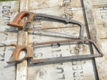 lot vintage bow type hack saws w/old wood handles, metal cutting tools
