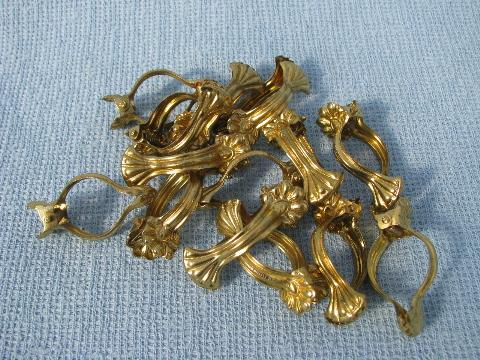 lot vintage cafe curtain hooks, ornate brass clip rings drapery hardware