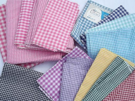 lot vintage checked gingham apron fabric, all colors and sizes of checks