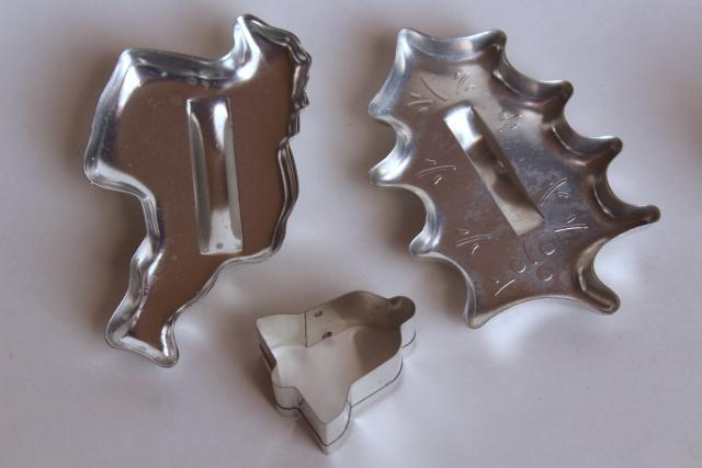 lot vintage cookie cutters, metal & red lucite plastic, fall leaves & Christmas cookies